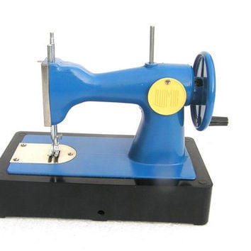 Kids sewing machine blue Soviet toy children kids room decor collectibles toys vintage 70s