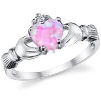 Sterling Silver 925 Irish Claddagh Friendship & Love Ring with Pink Simulated Opal Heart