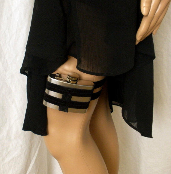 Flask Garter - WITH FLASK - Black