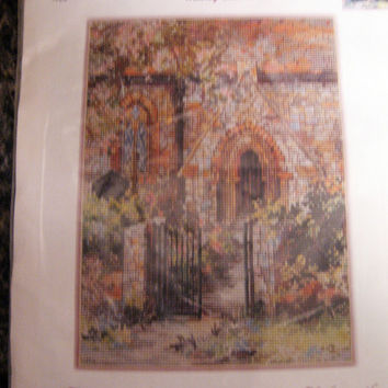 Cross Stitch Kit SANCTUARY by Mary Bell vintage Pattern DMC Floss Church Garden New Old Stock Roses Pink Green Beige Brown