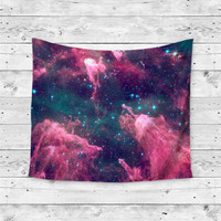"""Cotton Candy Space"" Pink Blue Galaxy Cloud Wall Tapestry"