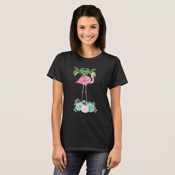 Pink Flamingo Palm trees and Floral Succulents T-Shirt