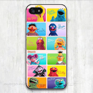 cover,case fits iPhone,iPod 5th models, sesame street, muppets,elmo, cookie monster, colorful