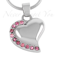"Cremation ""Breast Cancer Heart"" Urn Necklace"