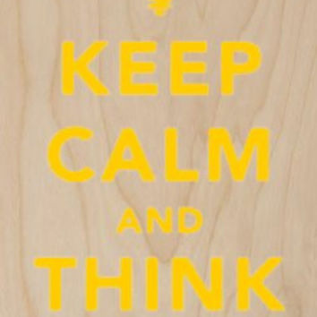 'Keep Calm and Think On' Idea Light Bulb - Plywood Wood Print Poster Wall Art