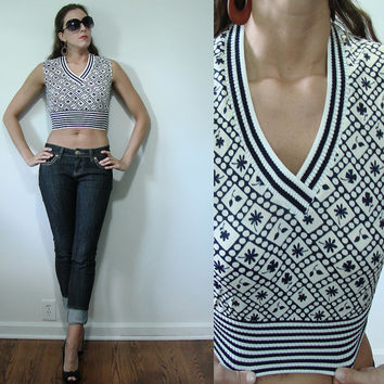 Vintage 1960s Crop Top Sleeveless Pin up Blouse Blue & White XS Small