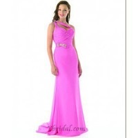 A-Line One-Shoulder Floor-Length Chiffon Prom Dress SAL1067