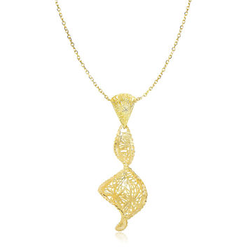 Wire Mesh Coil Textured Pendant + Necklace in 14k Yellow Gold