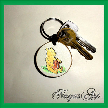 Classic Pooh Keychain personalized. Winnie the Pooh keyring. Teddy Bear Wooden Handmade Keyring Keychain. Unique gift keychain natural slice