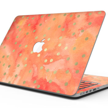Green Polka Dots Over Water Colored Fire - MacBook Pro with Retina Display Full-Coverage Skin Kit