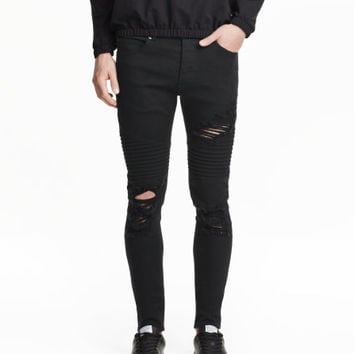 Skinny Trashed Biker Jeans - from H&M