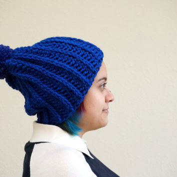 pom pom beanie, ribbed beanie, blue beanie, slouchy beanie, oversized beanie / THE MICAH / Royal Blue & Cobalt / Ready to Ship!