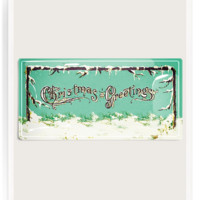 Snowy Christmas Greetings Decoupage Glass Tray