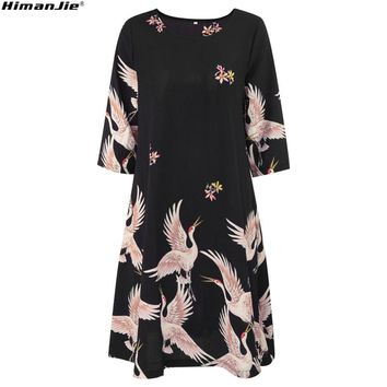 Fashion Cartoon chinese Style Red-crowned Crane print black Dress Short Sleeve Women O Neck Midi Pleated Robe Party Swing Dresse