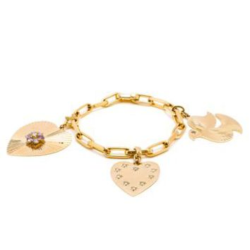 LOQUET | Peace and Love Charm Bracelet | brownsfashion.com | The Finest Edit of Luxury Fashion | Clothes, Shoes, Bags and Accessories for Men & Women