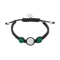 Michigan State Spartans Crystal Ball & Sterling Silver Team Logo Slipknot Bracelet (Green)