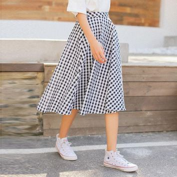 2017 Black-White Plaid Vintage Skirt High-Waist Office Skirts Womens Cotton Knee-Length Flare A-Line Causal Summer Autumn Skirts