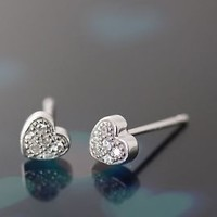 Sterling Silver Tiny Heart Earrings Crystal Earrings Antique Classic Simple Post