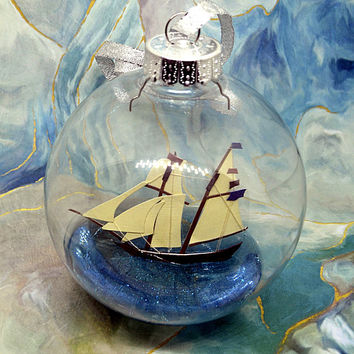Ship Ornament, Beach Ornament, Unique Ornaments, Beach Lovers Gift, Beach Christmas Ornament, Sailboat Ornament, Nautical Christmas