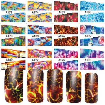12 Designs Nail Art Beauty Shinning Sky Flower Stamp for DIY nails toes Water Transfer Full Cover Sticker Decals A169-180