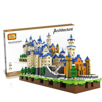 6800pcs diamond building blocks loz World famous architecture series Neuschwanstein model with light effect and small figures