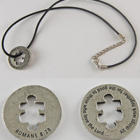 "All Things Work Together - Romans 8:28 Scripture Coin Necklace with 18"" - 19 1/2"" Adjustable Black Cord"