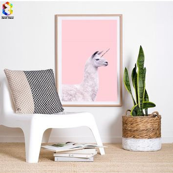Unicorn Llama Wall Art on Canvas