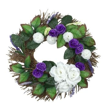 EuropeTop Quality White Rose Wreath 30cm Garland Window Door Entrance Decorations Ornament