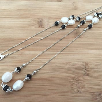 "Long 30"" Necklace, Sterling Silver, White Baroque Pearls with Austrian Crystals, Chain Link, Handmade / Handwrapped"