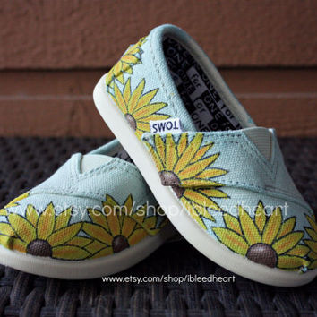 Toddler - Fields of Sunflowers Custom Painted TOMS Shoes