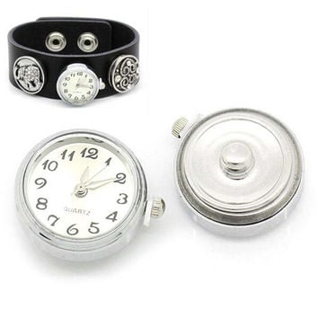 DIY watch snaps buttons Round DIY Alloy Ginger Snap Watch for snaps bracelets fit ginger snaps jewelry