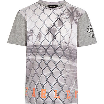 River Island Boys grey wire fence print t-shirt