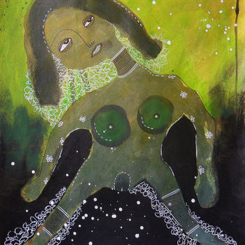 Green Nude Painting Modern Art Primitive Outsider Art Abstract Woman Female Figurative Decor Greens