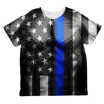 Halloween Thin Blue Line Superhero Costume All Over Toddler T Shirt