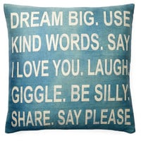 """Dream Big"" 20x20 Pillow, Teal, Decorative Pillows"