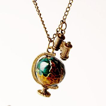 New Fashion Globe Pendant Necklaces Telescope Women Jewelry Chain Necklace Earth Ball Gifts for Women Personality Blue N268
