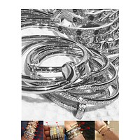 """Cartier"" Classic Stylish Ladies Men Delicate Shiny Diamond Bracelet Screw Bracelet Lovers Bracelet Accessories Jewelry I/A"