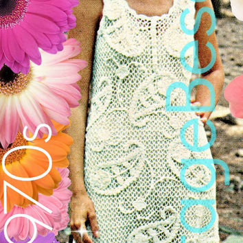 Crochet PATTERN Vintage Paisley Patterned Dress 70s Crochet Pattern Irish Lace Ladies Summer Wear Bohemian Clothing Instant Download PDF