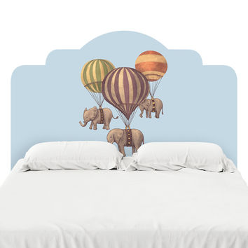 Flight of the Elephants Blue Headboard Decal