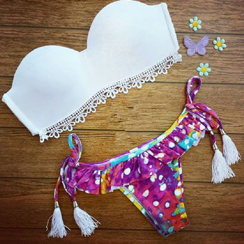 Floral Print Vintage Triangle Swimwear Bikini Bandeau Push Up White Bra