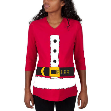 Christmas Santa Claus Costume Red Maternity 3/4 sleeve T-shirt