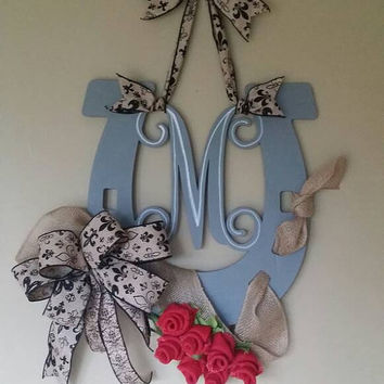 Kentucky Derby Monogram Decor Horseshoe Monogram Run for the Roses Horseracing Decor western Monogram Horseshoe Monogram Derby Roses Decor