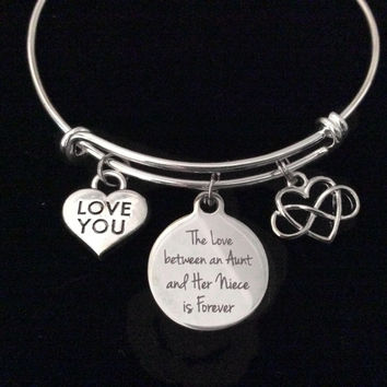 Love You Niece and Aunt Infinity Expandable Charm Bracelet Adjustable Silver Wire Bangle Gift