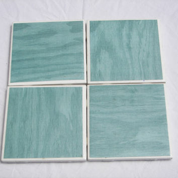 Turquoise Treebark Coasters Set of 4