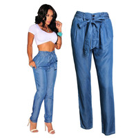 Women High Waist Denim Pants Summer Elastic Waist Pants Casual Loose Thin Jeans Women