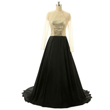Fashion Chiffon O Neck Sequined Long A Line Prom Dresses Long Sleeves Court Train Floor Length Prom Dress