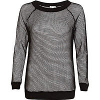 Black mesh sweatshirt
