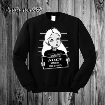 Alice Mugshot on Black Crewneck Sweatshirt