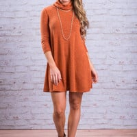 Fireside Glow Sweater Dress, Orange