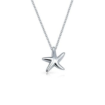 Starfish Nautical Beach Pendant Necklace Sterling Silver 16 Inch